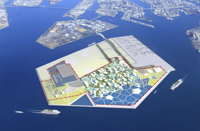 Rendering of the proposed site of Expo 2025 Osaka